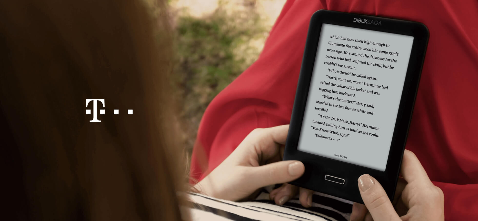 Girl reading on Dibug Saga e-reader